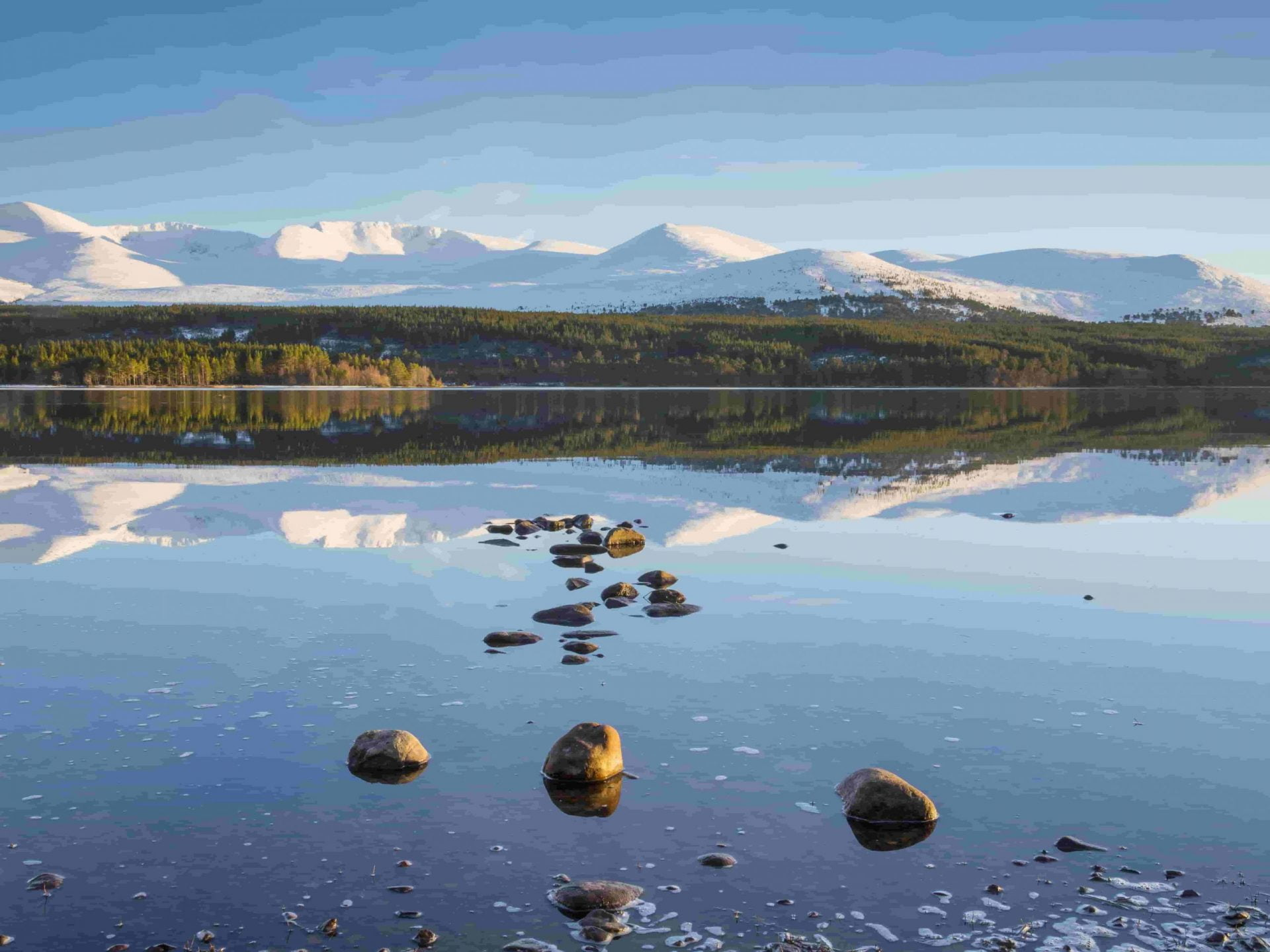 Loch Morlich in the Cairngorm National Park Highland Auto Campers